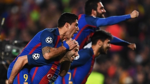 Luis Suarez and Javier Mascherano lead the Barca celebrations