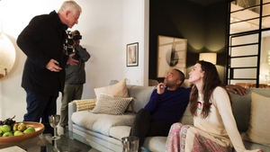 Love Actually creator Richard Curtis with stars Chiwetel Ejiofor and Keira Knightley. Pic: Twitter/EmmaFreud