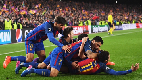 Barcelona celebrate their incredible victory over PSG on Wednesday night