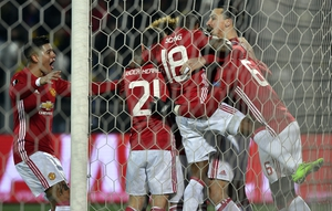 Zlatan Ibrahimovic after Manchester United opened the scoring in their Europa League tiel