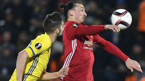 Zlatan Ibrahimovic set up United's goal against Rostov in Russia