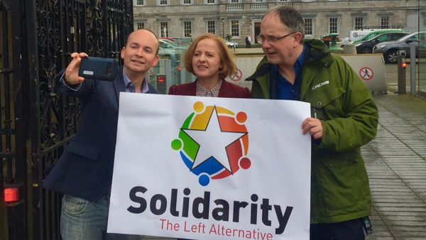 Smile: Solidarity TDs (left to right) Paul Murphy, Ruth Coppinger and Mick Barry introduce the new party