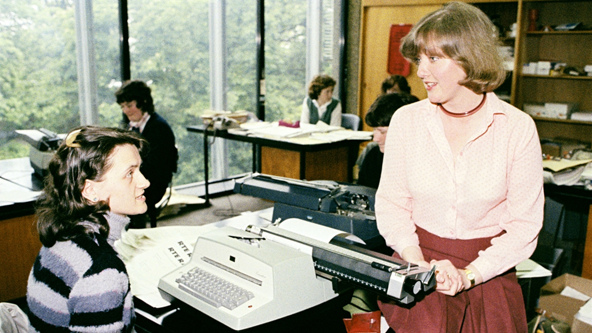 RTÉ broadcaster Marian Finucane and colleague (1979)