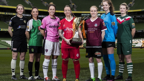 Pictured L-R: Ciara Delany (Kilkenny United WFC), Louise Corrigan (Peamount United), Kylie Murphy (Wexford Youths Women's LFC), Pearl Slattery (Shelbourne LFC), Meabh de Burca (Galway WFC), Emily Cahill (UCD Waves) and Saoirse Noonan (Cork City Women's FC