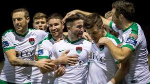 Cork City players congratulate goal scorer Sean Maguire