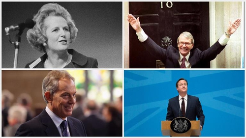 Former British prime ministers Margaret Thatcher, John Major, Tony Blair and David Cameron