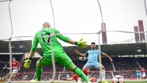 Sergio Aguero scores City's second goal