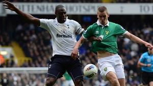 Steve Morison (r) in action for Norwich against Tottenham in 2012
