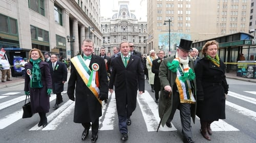 Enda Kenny (centre) took part in the annual St Patrick's Day parade in Philadelphia before making his speech
