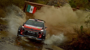 Kris Meeke negotiates the rough roads of Leon