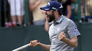Adam Hadwin celebrates his maiden PGA title