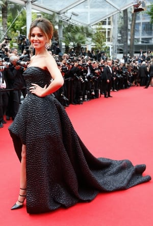 Shiny and textured Monique Lhuillier bustier gown at the 2014 Cannes festival.