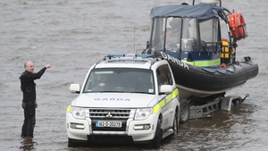 Members of the garda water unit prepare to join the search for the helicopter