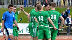 Ireland's Matthew Nelson celebrates his strike with team-mates