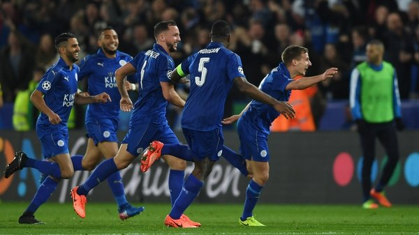 Leicester players celebrate the winning goal
