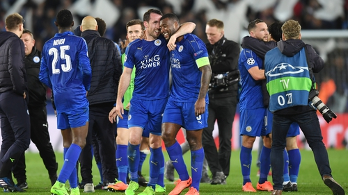 Leicester players celebrate the win over Sevilla