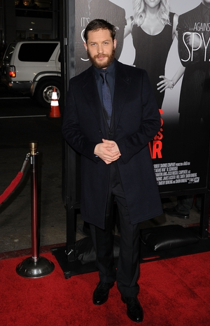 Keeping it simple with a trendy beard and navy suit at the 'This Means War' premiere in 2012.