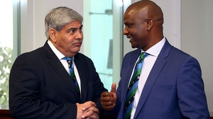 Shashank Manohar (L) pictured with Chairman Zimbabwe Cricket Tavenwa Mukuhlani