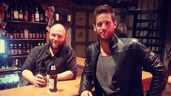 Dan Ewing with former Home and Away star Sam Atwell in Carrigstown