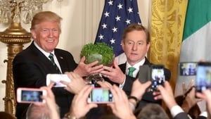 Taoiseach Enda Kenny presented Donald Trump with a bowl of shamrock at the White House