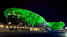 Yas Viceroy Hotel in Abu Dhabi has its colours in order