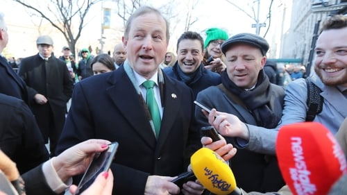Enda Kenny spoke to the media after taking part in the New York parade