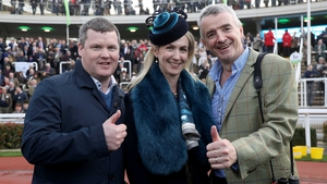 Gordon Elliott (L) with Michael O'Leary and his wife Anita