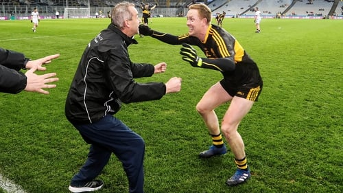 Cooper celebrates with Crokes manager Pat O'Shea after the final whistle at Croke Park