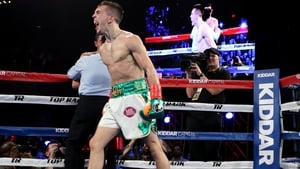 Conlan celebrates a win in his professional debut at Madison Square Garden