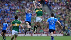 Brian Fenton and David Moran battle for possession in the 2016 All-Ireland semi-final at Croke Park