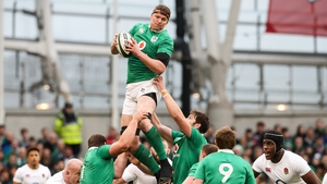 Donnacha Ryan wins the ball in the line-out for Ireland against England