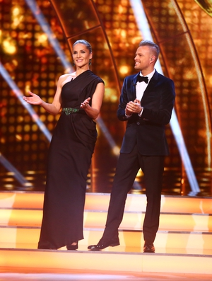 Week 11: Amanda Byram wore a gorgeous dress from the ivory closet with betty and biddy earrings while Nicky looked as handsome as ever in his suit and bow tie.