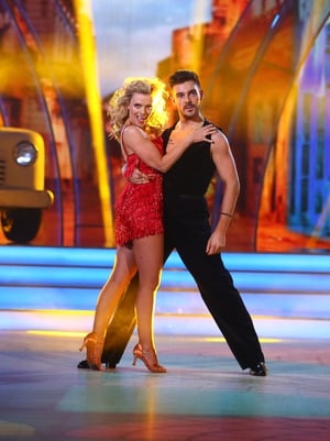 Week 11: Wow! Denise looked red hot in a mini dress for her cha-cha with Ryan.