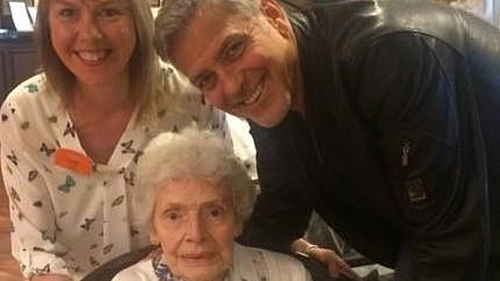 Linda Jones with birthday lady Pat Adams and surprise guest George Clooney Photo: Linda Jones