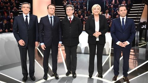 French presidential election candidates, Francois Fillon (L), Emmanuel Macron, Jean-Luc Melenchon, Marine Le Pen and Benoit Hamon