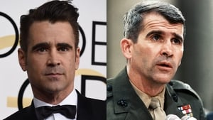 Colin Farrell's physical resemblance to Oliver North - pictured here in 1987 - is striking