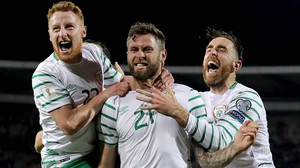 Daryl Murphy (C) celebrating his leveller in Serbia