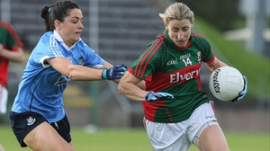 Mayo's Cora Staunton in action against Dublin's Sinead Goldrick last August