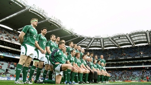 The Ireland rugby team at Croke Park before their Six Nations clash against England in 2009