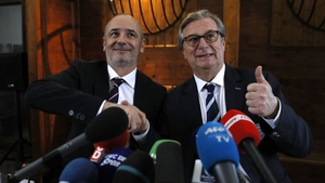 Racing 92 president Jacky Lorenzetti (R) and Stade Francais Paris president Thomas Savare (L) pictured at the announcement of the now cancelled merger