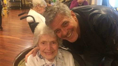 """Pat Adams with George Clooney on Sunday - """"I just think he's a handsome man. He does a lot of good and I just like him and that's all there is to it, really"""" Photo: Sunrise UK"""
