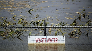 A wastewater treatment plant inundated by floodwaters in Mississippi