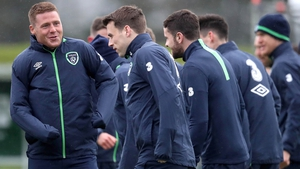 James McCarthy and Seamus Coleman training with Ireland today