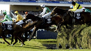 Barry Geraghty and Monty's Pass (19) on the way to Grand National glory in 2003