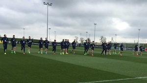 The Ireland players in training this morning