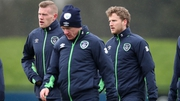 James McClean (left) at Ireland squad training in Abbotstown