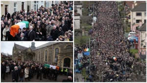 Mourners gathering for the funeral of Martin McGuinness