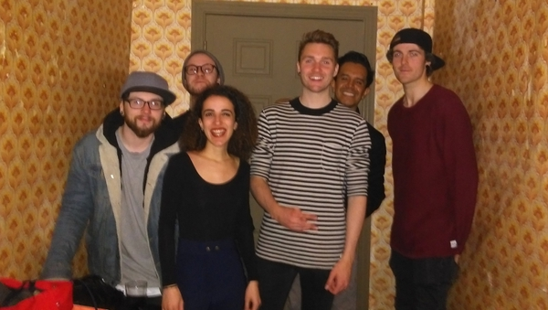 First-time Paddy's Day reveler Lilia Lalaoui with Donegal band Wolves Of Youth