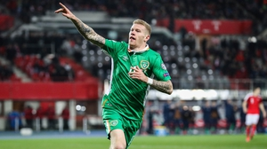 James McClean celebrates scoring against Austria in Russia 2018 qualifying