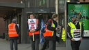 Workers picket outside Busáras in Dublin this morning